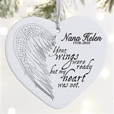 1-Sided Your Wings Personalized Heart Ornament-Large - 19551-1L