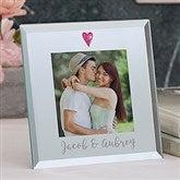 Romantic Heart Personalized Glass Mini Frame