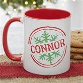 Stamped Snowflake Personalized Coffee Mug- 11 oz.- Red - 19643-R