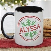 Stamped Snowflake Personalized Coffee Mug- 11 oz.- Black - 19643-B