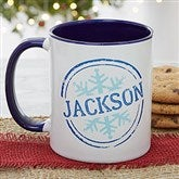 Stamped Snowflake Personalized Coffee Mug- 11 oz.- Blue - 19643-BL