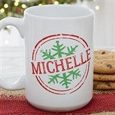 Stamped Snowflake Personalized Coffee Mug- 15 oz. - 19643-L