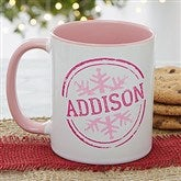 Stamped Snowflake Personalized Coffee Mug- 11 oz.- Pink - 19643-P
