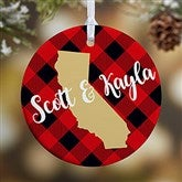 1-Sided State Pride Buffalo Check Personalized Ornament-Small - 19646-1