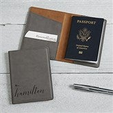 Wedded Bliss Personalized Grey Passport Holder - 19652-G