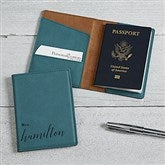 Wedded Bliss Personalized Teal Passport Holder - 19652-T
