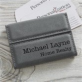 Signature Series Personalized Business Card Case- Charcoal - 19686-C