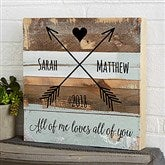 Romantic Arrows Personalized Reclaimed Wood Wall Art - 12x12 - 19697-12x12