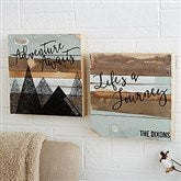 Adventure Awaits Personalized Reclaimed Wood Wall Art - 12 x 12 - 19698-12x12