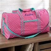 Pink Polka Dot Embroidered Girls Duffel Bag - 19748