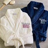 His or Hers Embroidered Luxury Fleece Robe - 19758
