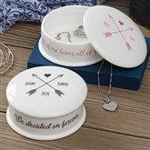Romantic Arrows Personalized Jewelry Box - 19775
