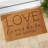 Love Lives Here Personalized Coir Doormat- 18x27 - 19823