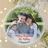 Holly Branch Personalized Premium Family Photo Ornament - 19827