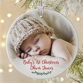 Holly Branch Personalized Premium Baby Photo Ornament - 19829