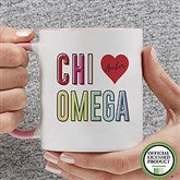Chi Omega Personalized Coffee Mug 11 oz.- Pink - 19835-P