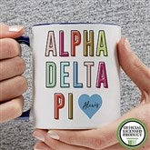 Alpha Delta Pi Personalized Coffee Mug 11 oz.- Blue - 19876-BL