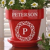 Circle & Vine Monogram Personalized Flower Pot - Red - 19989-R