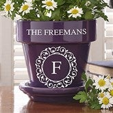 Circle & Vine Monogram Personalized Flower Pot - Purple - 19989-P