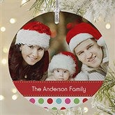 Polka Dot Christmas Personalized Photo Premium Ornament - 20049