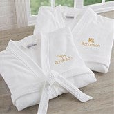 Mr. and Mrs. White Velour Personalized Robe Set - 20083-M/M