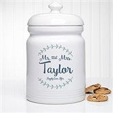 Mr. and Mrs. Laurel Leaf Personalized Cookie Jar - 20145