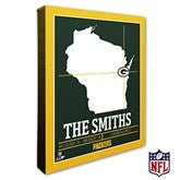 Green Bay Packers Personalized NFL Stadium Coordinates Canvas Print - 20216-16x20
