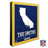 Los Angeles Chargers Personalized NFL Stadium Coordinates Canvas Print - 20221-16x20