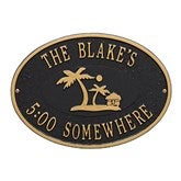Island Time Personalized Aluminum Deck Plaques - Palm Tree - 20247D-P