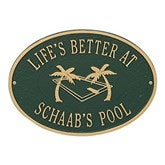 Island Time Personalized Aluminum Deck Plaques - Swimming Pool - 20247D-S