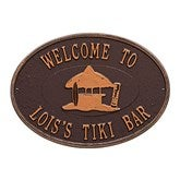 Island Time Personalized Aluminum Deck Plaque - Tiki Hut - 20247D-T