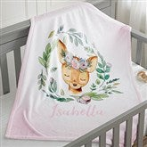 Woodland Floral Deer Personalized Fleece Baby Blanket - 20254-D