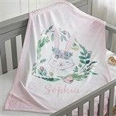 Woodland Floral Bunny Personalized Fleece Baby Blanket - 20254-B