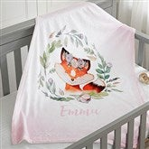 Woodland Floral Fox Personalized Fleece Baby Blanket - 20254-F