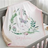 Woodland Floral Bunny Personalized Sherpa Baby Blanket - 20254-SB