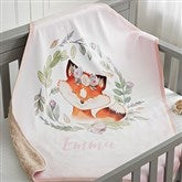 Woodland Floral Fox Personalized Sherpa Baby Blanket - 20254-SF