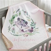 Woodland Floral Raccoon Personalized Sherpa Baby Blanket - 20254-SR