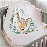 Woodland Floral Deer Personalized Sherpa Baby Blanket - 20254-SD