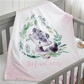 Woodland Floral Raccoon Personalized Fleece Baby Blanket - 20254-R