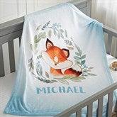 Woodland Fox Personalized Fleece Baby Blanket - 20256-F