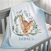 Woodland Deer Personalized Fleece Baby Blanket - 20256-D