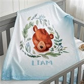 Woodland Bear Personalized Fleece Baby Blanket - 20256-B