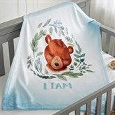 Woodland Bear Personalized Fleece Baby Blanket - 20256-B