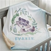 Woodland Raccoon Personalized Sherpa Baby Blanket - 20256-SR