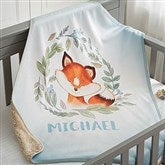 Woodland Fox Personalized Sherpa Baby Blanket - 20256-SF