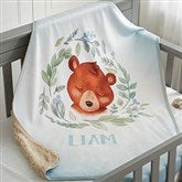 Woodland Bear Personalized Sherpa Baby Blanket - 20256-SB
