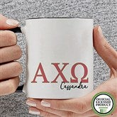 Alpha Chi Omega Personalized Greek Letter Coffee Mug 11 oz.- Black - 20274-B