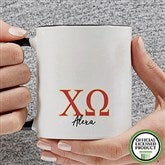 Chi Omega Personalized Greek Letter Coffee Mug 11 oz.- Black - 20276-B