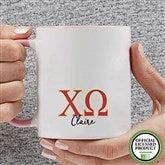 Chi Omega Personalized Greek Letter Coffee Mug 11 oz.- Pink - 20276-P