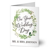 Laurels of Love Personalized Greenery Wedding Card - 20436